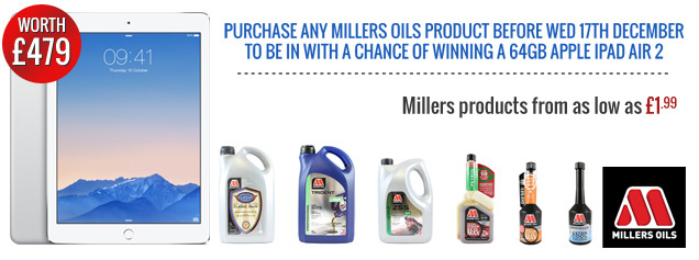 Buy any Millers Oils product for a chance to WIN an Apple iPad 2 worth £479