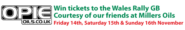 Win tickets to the Wales Rally GB - Courtesy Of Millers Oils