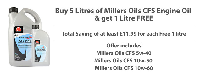 Millers Oils CFS Engine Oils - Free 1 litre offer