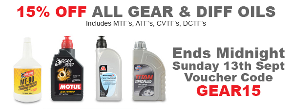 15% Off All Gear & Diff Oils