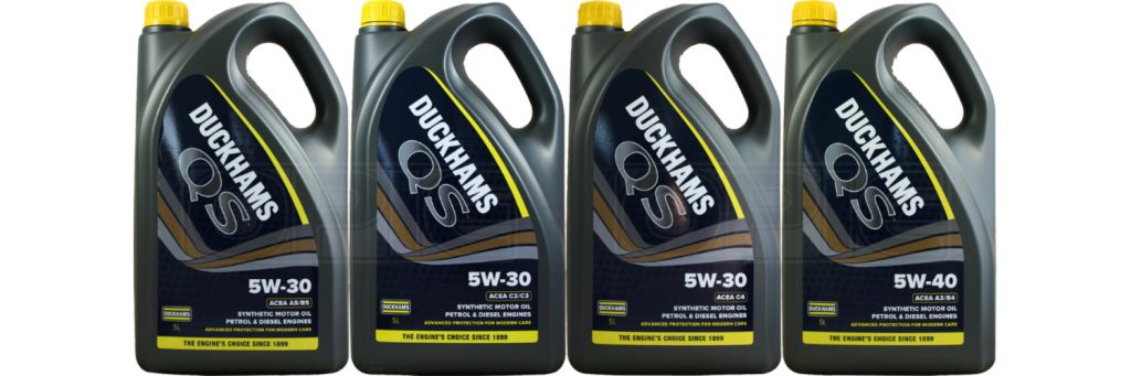 The range of Duckhams QS motor engine oils available for sale at Opie Oils
