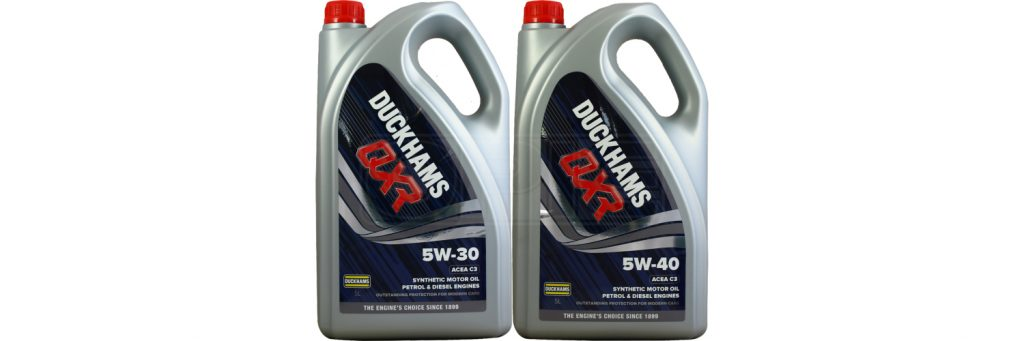 The range of Duckhams QXR motor engine oils available for sale at Opie Oils